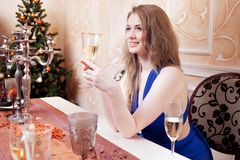 Portrait of cheerful girls at the Cristmas party Royalty Free Stock Photo