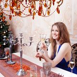 Portrait of cheerful girls at the Cristmas party Royalty Free Stock Images