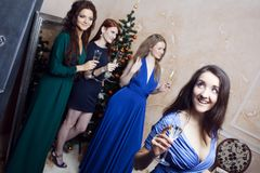 Portrait of cheerful girls at the Cristmas party Stock Image