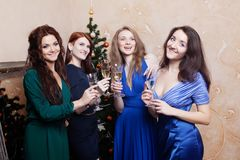 Portrait of cheerful girls at the Cristmas party Royalty Free Stock Photography
