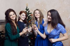 Portrait of cheerful girls at the Cristmas party Stock Photos