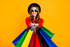 Portrait of cheerful glad good mood charming elegant adorable cu. Rly-haired lady in round eyeglasses eyewear showing giving handling you colorful bags wearing stock photography