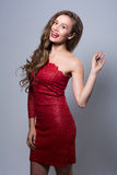 Portrait of a cheerful glamor beautiful girl Stock Photos