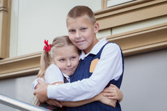 Portrait of cheerful and happy brother and sister Stock Photo