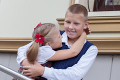 Portrait of cheerful and happy brother and sister Royalty Free Stock Images