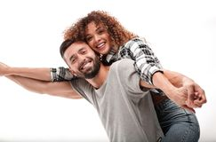 Portrait of a cheerful and happy married couple stock photography