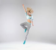 Portrait of cheerful jumping woman Royalty Free Stock Photo