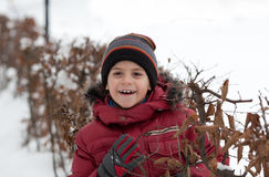 Portrait of cheerful little boy. Smiling little boy in cap at bushes with leaves Royalty Free Stock Image