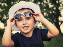 Portrait of a cheerful little boy in sunglasses Stock Photography
