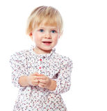 Portrait of a cheerful  little girl at home, in the dress, 1,5 Stock Photo