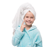 Portrait of cheerful little girl after taking a shower with crea Stock Images