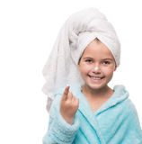 Portrait of cheerful little girl after taking a shower with crea Stock Photography