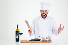 Portrait of a cheerful male chef cook preparing fish Royalty Free Stock Photo
