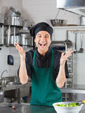 Male Chef Gesturing In Kitchen. Portrait of cheerful male chef gesturing with salad on counter Stock Image