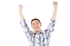 Portrait of cheerful man with arms raised Stock Photography