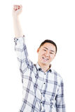 Portrait of cheerful man with hand raised Stock Photos