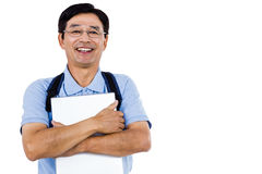 Portrait of cheerful man holding documents Royalty Free Stock Photo