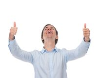 Portrait of a cheerful man posing with thumbs up Royalty Free Stock Photography