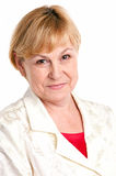 Portrait of cheerful mature woman over white Stock Photos