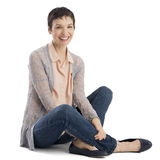 Portrait Of Cheerful Mature Woman Sitting stock photography