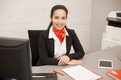 Latin Businesswoman at Desk royalty free stock photos