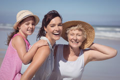 Portrait of cheerful multi-generation family at beach royalty free stock photo
