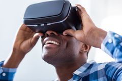 Portrait of a cheerful nice man in 3d glasses Stock Photo