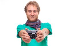 Portrait of cheerful photographer with camera Stock Image