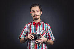 Portrait of a cheerful photographer Royalty Free Stock Image