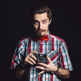 Portrait of a cheerful photographer Royalty Free Stock Images