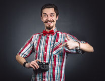 Portrait of a cheerful photographer Royalty Free Stock Photo