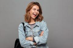 Portrait of a cheerful pretty teenage girl Stock Photos
