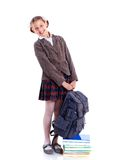 Portrait of cheerful schoolgirl Stock Photos