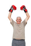 Portrait of a cheerful senior boxer. Standing over white background Royalty Free Stock Photo