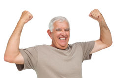 Portrait of a cheerful senior man with clenched fists Royalty Free Stock Photography