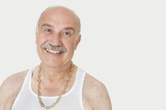 Portrait of cheerful senior man in vest over gray background Stock Image