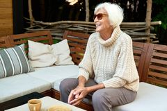 Happy Old Woman in Retirement royalty free stock photos