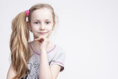Portrait of Cheerful Smiling Caucasian Female Blond Kid Royalty Free Stock Images
