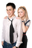 Portrait of cheerful student pair. Isolated Royalty Free Stock Image
