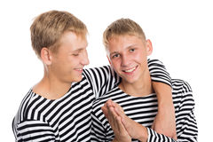 Portrait of cheerful two twin brothers Stock Photo