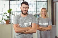 Portrait of cheerful volunteer in office Stock Photos