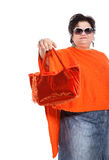Portrait of cheerful woman with her bags Stock Photography