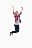 Portrait of a cheerful woman jumping Stock Photography