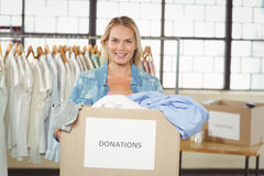 Portrait of cheerful woman volunteer Stock Photos
