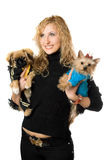 Portrait of cheerful young blonde with two dogs Royalty Free Stock Photos