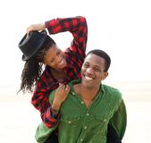 Portrait of a cheerful young couple stock photos