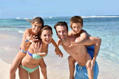 Portrait of cheerful young family having fun Royalty Free Stock Photos