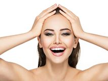 Portrait of cheerful young girl with a healthy face skin. Royalty Free Stock Photo