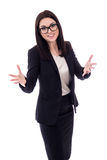 Portrait of cheerful young woman in business suit isolated on wh Stock Photos