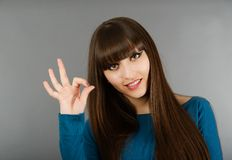 Portrait Of Cheerful Young Woman Gesturing Okay Stock Image